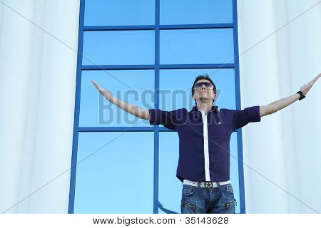 Happy Man Stand And Expressing Success And Victory Concept
