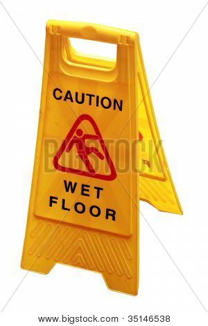 Wet Floor Sign Board To Caution People About Danger And Risk Isolated On White With Clipping Mask