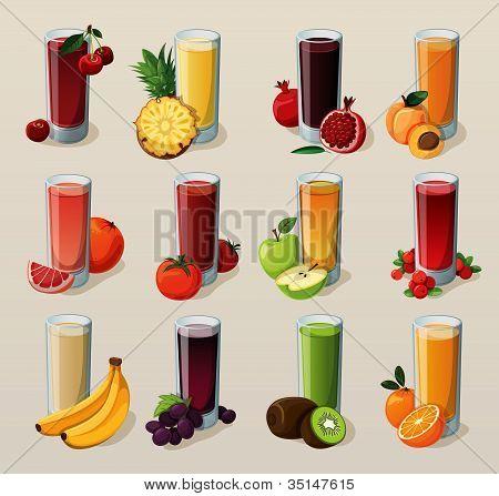 PrintSet of tasty fresh squeezed juices.