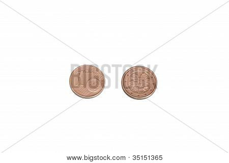 One eurocent coin