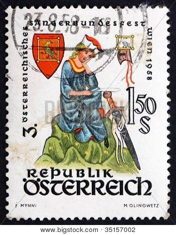 Postage stamp Austria 1958 Walther von der Vogelweide, poet