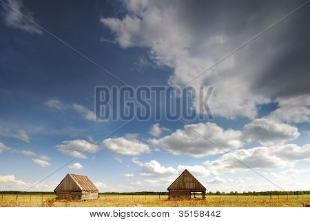 Two barn in the field