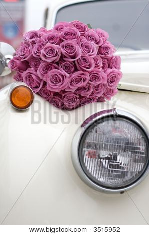 Classic White Limo And Roses