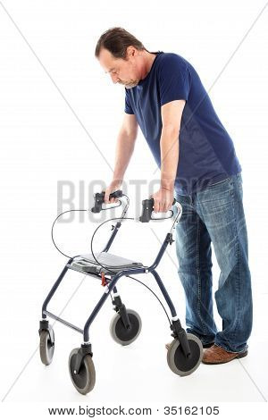 Despondent Man On Medical Walker