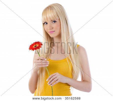 Woman Smiling While Holding Flower