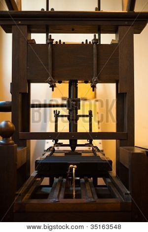 Old Traditional Wooden Book Printing Press