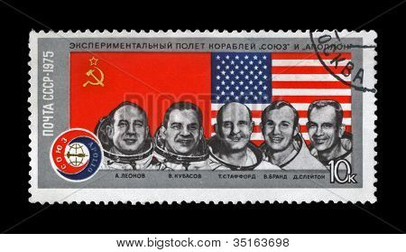 Ussr - Circa 1975: Canceled Stamp Printed In Ussr Shows Astronauts From The Apollo-soyuz Test Projec