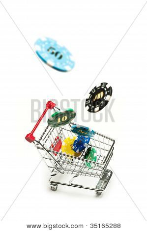 Shopping Cart With Casino Chips Fly Into It