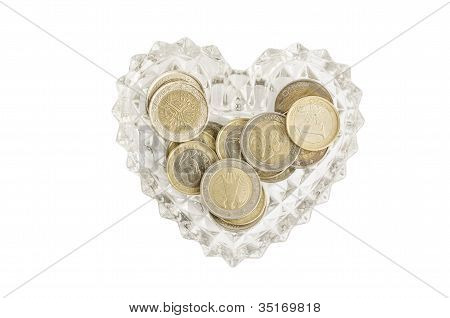 Ashtrey Heart With Euro Coins