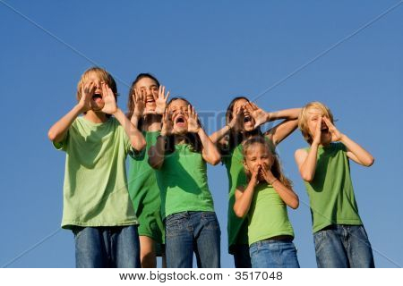Group Of Kids Shouting
