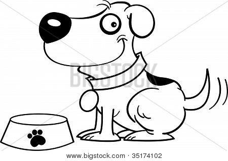 Dog with a dog dish