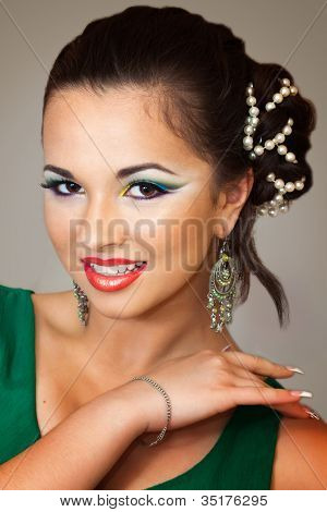 Pretty Girl With Oriental Makeup