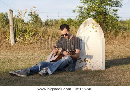 Sad Young Man Missing A Loved One And Singing To Them