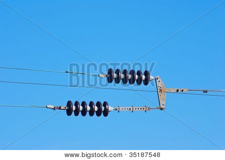 Railroad Wire Pole Against  Blue Sky