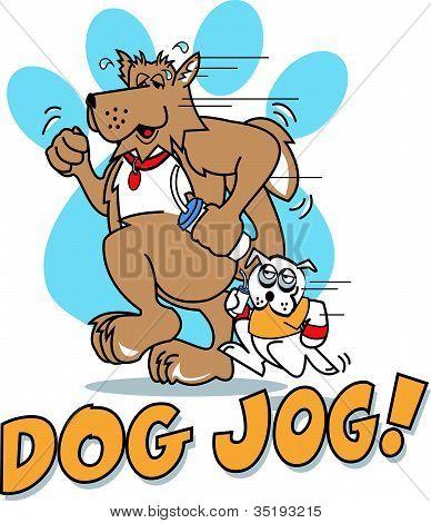Cartoon Dogs Jogging Pawprint