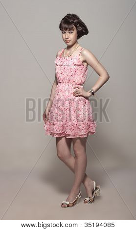 Beautiful Girl In A Pink Dress
