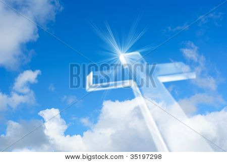 Beaming Bright White Cross In Heaven