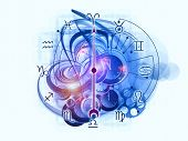stock photo of ares  - Composition of Zodiac symbols gears lights and abstract design elements with metaphorical relationship to astrology child birth fate destiny future prophecy horoscope and occult beliefs - JPG