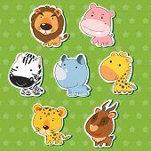 stock photo of stingray  - cute animal stickers with lion hippo zebra rhinoceros giraffe cheetah and antelope - JPG