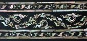 foto of marquetry  - Thai Floral Art With Mother Of Pearl Inlay On Temple Door  - JPG
