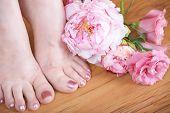 Feet With Pink Nail Polish poster