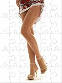 stock photo of upskirt  - lace dress and golden heels lady legs puzzle - JPG