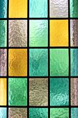 picture of stained glass  - Decorative domestic window of various colored rectangles - JPG