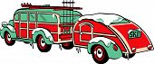 pic of covered wagon  - Vintage Station Wagon Towing Trailer with Skis and Ski Poles Covered Winter Snow and Iceicles - JPG