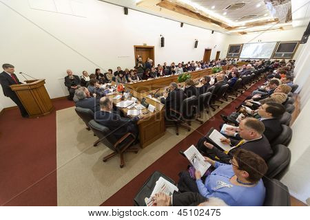 MOSCOW - MAR 21: Wide view on the hall and speaker on Round table Elections in Moscow on 4 March: were they free and fair in Moscow City Duma on March 21, 2012 in Moscow, Russia.
