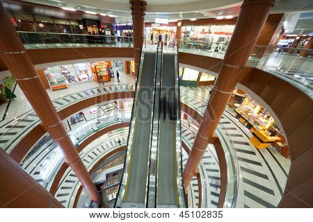MOSCOW - OCTOBER 31: Escalator in a shopping mall Schuka, on October 31, 2011 in Moscow, Russia