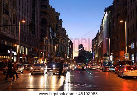 MADRID - MARCH 8: Gran Via street at night on March 8, 2012 in Madrid, Spain. Gran Via unofficially considered main street of capital of Spain.