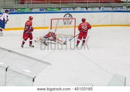 MOSCOW - APR 28: Goalkeeper off the attack on closing ceremony of the championship season of 2011-2012 Ice Hockey for Sports School, junior teams  on April 28, 2012  in Sokolniki, Moscow, Russia.