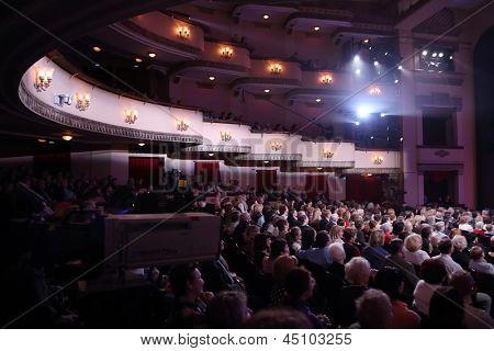 MOSCOW - APR 23: Audience at Ball Crystal Turandot, dedicated to anniversary of Svetlana Nemolyaeva in Vakhtangov Theatre on Apr 23, 2012 in Moscow, Russia. Nemolyaeva - Soviet and Russian actress.