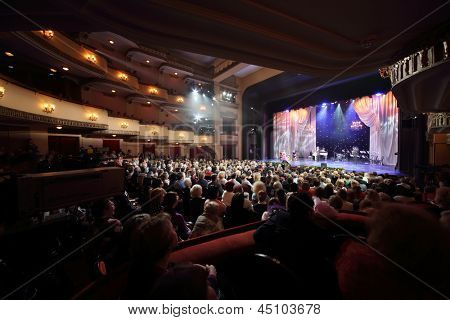 MOSCOW - APR 23: Concert at Ball Crystal Turandot, dedicated to anniversary of Svetlana Nemolyaeva in Vakhtangov Theatre, Apr 23, 2012 Moscow Russia. Nemolyaeva - Soviet, Russian theater, film actress