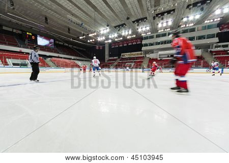 MOSCOW - APR 28: Hockey players are preparing for closing ceremony of the championship season of 2011-2012 Ice Hockey for Sports School, junior teams on April 28, 2012  in Sokolniki, Moscow, Russia.