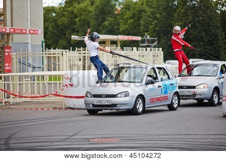 MOSCOW - JUN 30: Demonstrative performance of members from stuntmen team Avtorodeo Togliatti Trick during Speedfest at Olympic complex Luzhniki, June 30, 2012, Moscow, Russia.