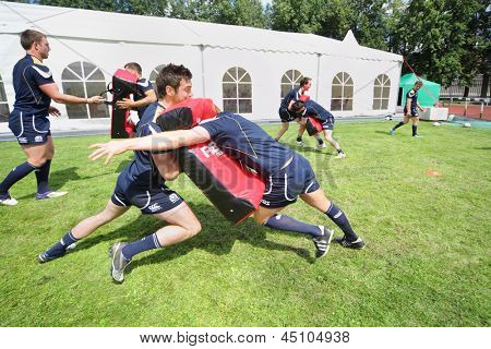 MOSCOW - JUNE 30: Scottish team training at second stage of European championship on rugby-7 in sports complex Luzhniki, on June 30, 2012 in Moscow, Russia.