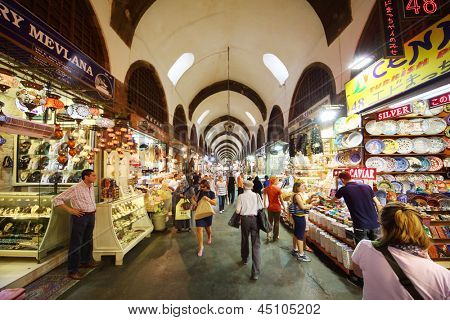 ISTANBUL - JULY 4: People look at goods in Egyptian Bazaar, on July 4, 2012 in Istanbul, Turkey. Turkey - Russia leading outbound tourism in 2012, according to Russian Federal Tourism Agency.