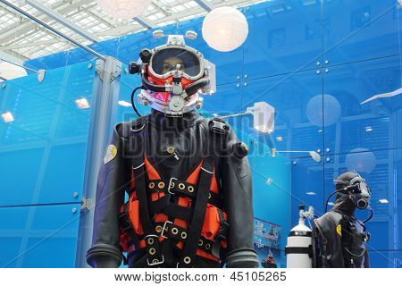 MOSCOW - MAY 23: Diving suits at Russia Marine Industry Conference 2012 in Gostiny Dvor, on May 23, 2012 in Moscow, Russia.