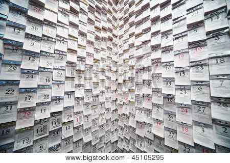 MOSCOW - MAY 23: Tear-off calendars on wall in trendy interior at International Exhibition of Architecture and Design ARCH MOSCOW, on May 23, 2012 in Moscow, Russia.