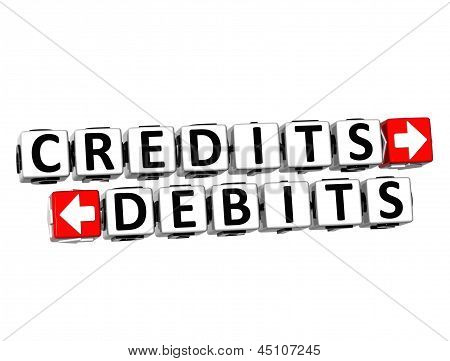 3D Credits Debits Button Click Here Block Text