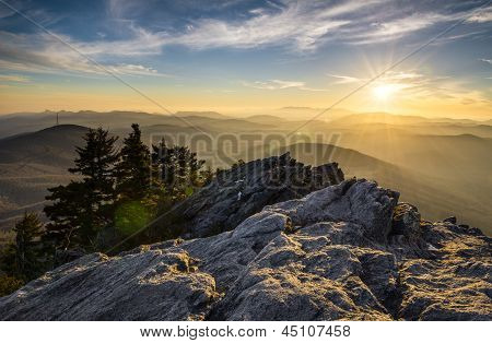 Grandfather Mountain Appalachen Sunset Blue Ridge Parkway Western Nc