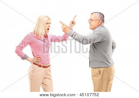 An agry female and mature man arguing isolated on white background