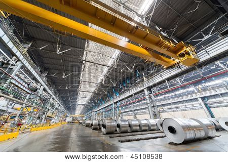 Rolls of aluminum are store in a special place before transporting.