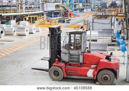 Small lift truck for loading aluminum.
