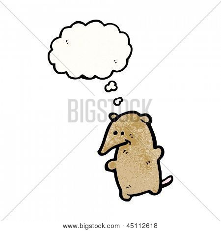 cute cartoon shrew with thought bubble