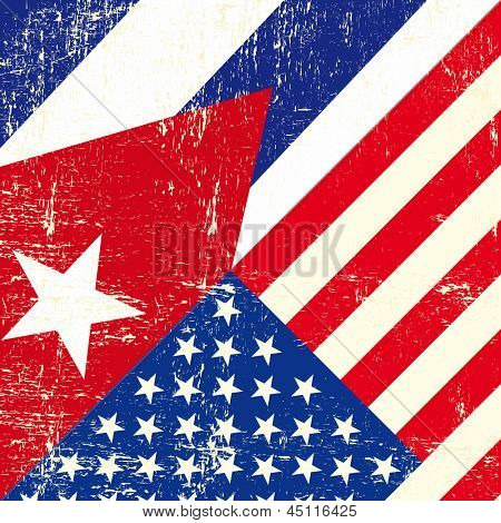 USA and cuban grunge Flag. this flag represents the relationship  between Cuba and the USA