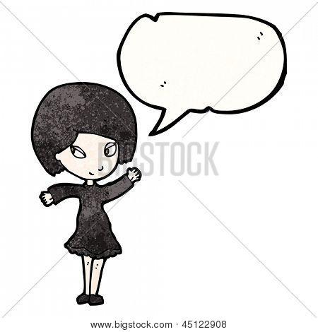 cartoon goth girl with speech bubble