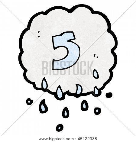 cartoon raincloud with number 5