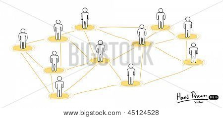 Hand drawn social network concept,Vector illustration.